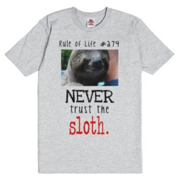 Never trust the sloth.-Unisex Dark Ash T-Shirt
