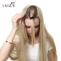 "SARLA 24"" 170g U-Part Clip in Hair Extension Clip One Piece Long Straight & Wavy Full Head Natural False Synthetic Hairpieces"