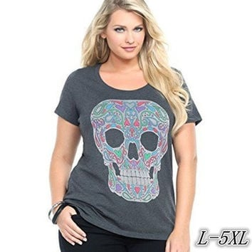 Short Sleeves Skull Print T-shirt Plus Size Cotton Gray Tops ZB5272 [8833472588]