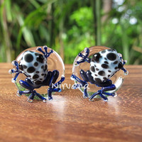 "Aqua Frogs with Black Spots Glass Plugs - One Pair  00g 7/16"" 1/2"" 9/16"" 5/8"" 3/4"" 1"" 9.5 mm 10 mm 12 mm 14 mm 16 mm 18 mm 20 mm 22 mm 25 mm"