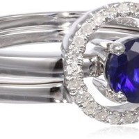Sterling Silver Created Sapphire and 1/10cttw Diamond Ring, Size 7