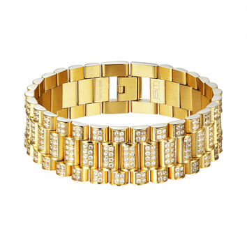 Presidential Link Bracelet Gold Plated Stainless Steel Iced Out