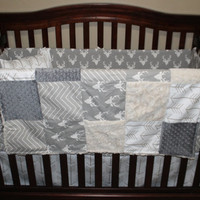 Baby Boy Crib Bedding - Gray Buck, Ecru Chevron, White Tan Arrows, Gray Minky,  and Ivory Crushed Minky Crib Baby Bedding Ensemble