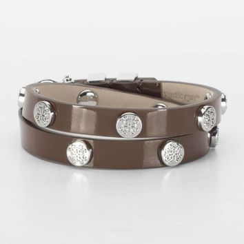 Rustic Cuff - Macy Patent Brown with Silver