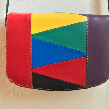 Vintage Rainbow Colorblock Crossbody Satchel / Colorful Leather Patchwork Purse / Retro Bold 80s MOD Striped Handbag / Long Shoulder Strap