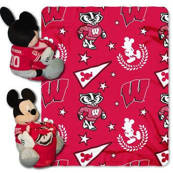 Wisconsin Badgers NCAA Mickey Mouse with Throw Combo