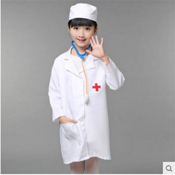 ONETOW Children Halloween Cosplay Costume Kids Doctor Costume Nurse Uniform Free Shipping