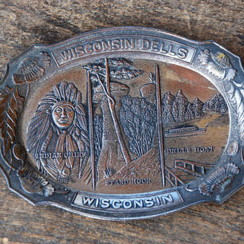 Vintage Metal Souvenir Trinket Dish Ring Tray Wisconsin Dells Indian Chief Stand Rock GNCO Made in Japan 1950's // Vintage Home Decor