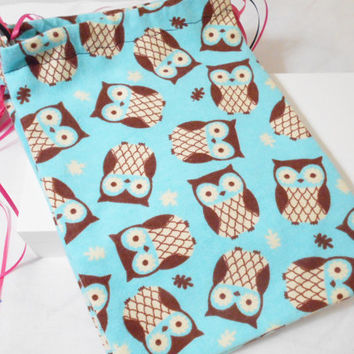 5 Fabric Goody Bags / Party Gift Bags 7.5x11 inches - Party Favor Bag - Fabric Gift Bag - Girl's Party, Owl Theme, Triple String Drawstring