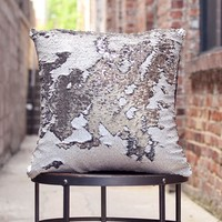 Rice White & Silver Sequin Mermaid Pillow