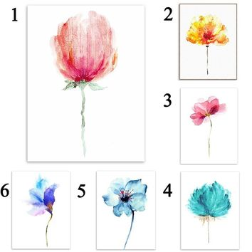 Modern Abstract Wall Art Painting 6 Styles Ink Style Flower Living Room Home Decor