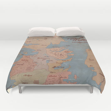 Westeros- Game of Thrones Map Duvet Cover by Kaz Palladino