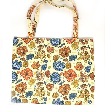 Tribal Flowers Zipper Tote Bag, Tribal Patterned Florals, Watercolor Flower Bag, Watercolor Art Bag, Graphic Floral Print Bag With Zipper