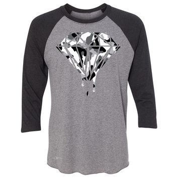 "Zexpa Apparelâ""¢ Black n White Camo Dripping Diamond 3/4 Sleevee Raglan Tee Melting Logo Tee"