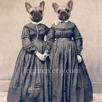 French Bulldog Art, Mixed Media Collage Print, The Bully Girls, 8x10 Altered Antique Civil War Portrait of Twin Sisters