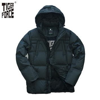 TIGER FORCE 2017 Men Fashion Casual Down Jacket 70%White Duck Down Coat Detachable Hood Solid Zipper Free Shipping D-210A