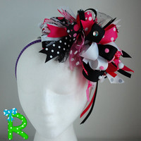 Over the top bow , Funky loopy bow , Crazy hair bow , party hair bow , Crazy pink and white bow , Funky loopy bubble bow , OTT