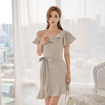 Hot Summer One Shoulder Ruffles Women Dress Lace Up Knee-length Mermaid Casual Dresses vestidos verano 2018