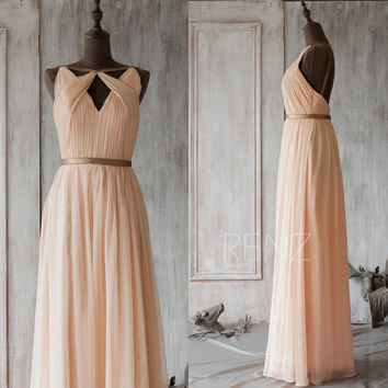 2015 Blush Bridesmaid Dress,Peach Long Prom Dress,Coral Wedding Dress,Chiffon Floor Length Formal Dress,Mix And Match(F062~66)/Renzrags Renz