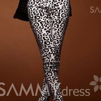 Leopard Print Modern Style Color Block Leggings For Women