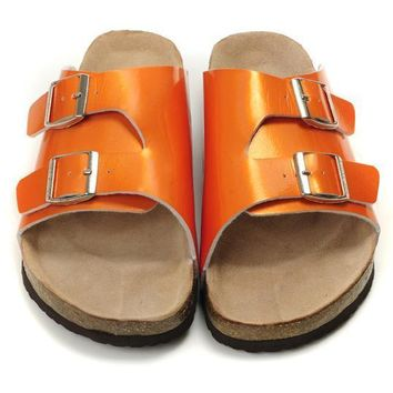 Birkenstock Leather Cork Flats Shoes Women Men Casual Sandals Shoes Soft Footbed Slippers-20