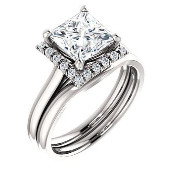 Princess/Square Moissanite Diamond Accent Ice Halo French-Set Ring