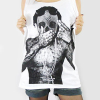 LIL WAYNE Skull Diamond White Bone Zombie Hip Hop Tank Top Women Tunic Top White T-Shirt Vest Women Sleeveless Shirt Size M