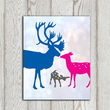 Blue pink nursery decor Deer family printable Nursery wall art Happy family print Little girls bedroom poster print Canvas INSTANT DOWNLOAD
