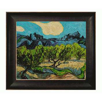 OverstockArt VG974-FR-939320X24 Olive Trees with the Alpilles in the Background by Vincent Van Gogh: 24 x 20 Oil Painting Reproduction with Bronze Scoop Frame