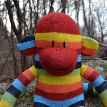 sock monkey doll, FREE HEART or MONOGRAM patch, sock monkey, sock monkey plush, rainbow sock monkey, plush monkey, striped sock monkey,