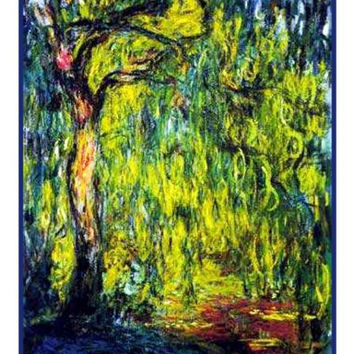 The Weeping Willow inspired by Claude Monet's impressionist painting Counted Cross Stitch or Counted Needlepoint Pattern