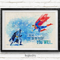 Superman vs Batman Watercolor Poster Print, Superhero Watercolor Print, Kids Bedroom Wall Art, Home Decor, Not Framed, Buy 2 Get 1 Free