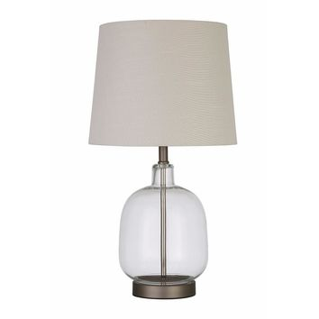 Beautifully Designed Glass Table Lamp, White And Clear-Coaster
