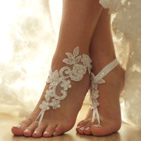 Free Ship ivory, white, black, pink, champagne, blue laceBarefoot Sandals, french lace, Beach wedding barefoot sandals