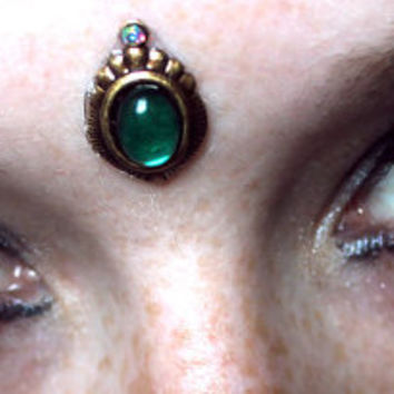 Green Dream Bindi, skin gem, facial jewelry, tribal fusion, bellydance, fairy, wicca, goddess, fae, gypsy, third eye, bollywood, glass