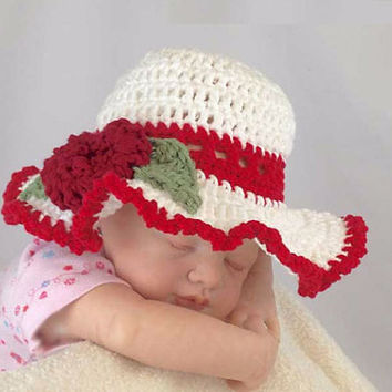 Outlander Baby Sun Hat Red White Newborn to 3 months Mandy Bonnet Photo Prop Crocheted Diana Gabaldon FREE SHIPPING