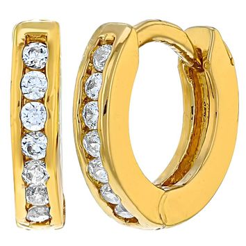 """18k Gold Plated Tiny Clear Crystal Baby Small Hoop Huggie Earrings Infants Toddler 0.39"""""""