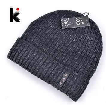 2018 mens designer hats bonnet winter beanie knitted wool hat plus velvet cap skullies Thicker mask Fringe beanies for men