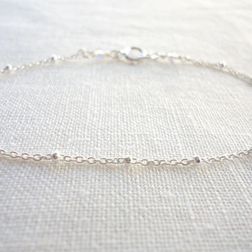 Simple sterling silver bracelet, satellite bracelet