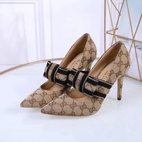 GUCCI Butterfly Knot Fashion Leisure High-heeled Shoes