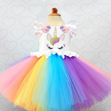 Fancy Rainbow Dress For Party Girls Unicorn Costume Kids Summer Clothes Colorful Christening Gowns For 1 Year Old Newborn Baby