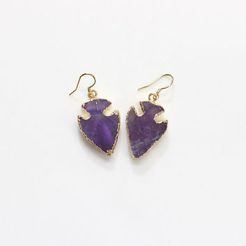 Arrowhead Amethyst Earring Natural Gemstone Arrow Head Earring Jewelry 126