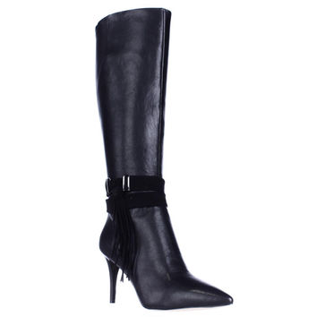 Nine West Piselli Pointed Toe Knee High Side Tassel Dress Boots - Black/Black