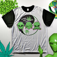 Three mystic WEED yin-yang ALIENS STONER marijuana ufo cannabis alien sci fi rave club kid dank kawaii grunge two tone no evil T-shirt