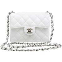 Chanel White Caviar Leather Mini Classic Flap with Silver