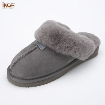 2018 sheepskin leather fur lined men home shoes winter suede slippers indoor house shoes for man half slippers high quality