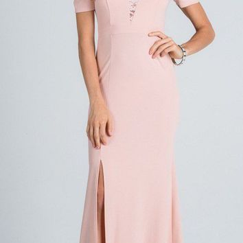 Taupe Cold Shoulder Long Prom Dress with Lace Inset and Slit