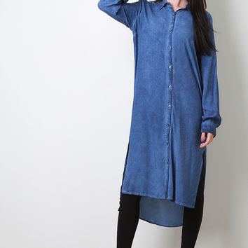 Button-Up Shirt Midi High-Low Dress