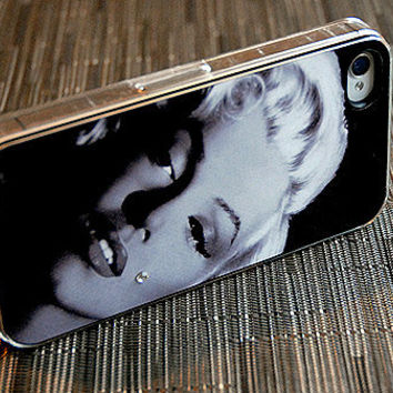 Black and White Marilyn Monroe with Rhinestone Detail iPhone 4 or 4s Case