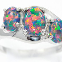 2 Carat Black Opal Oval Ring .925 Sterling Silver Rhodium Finish